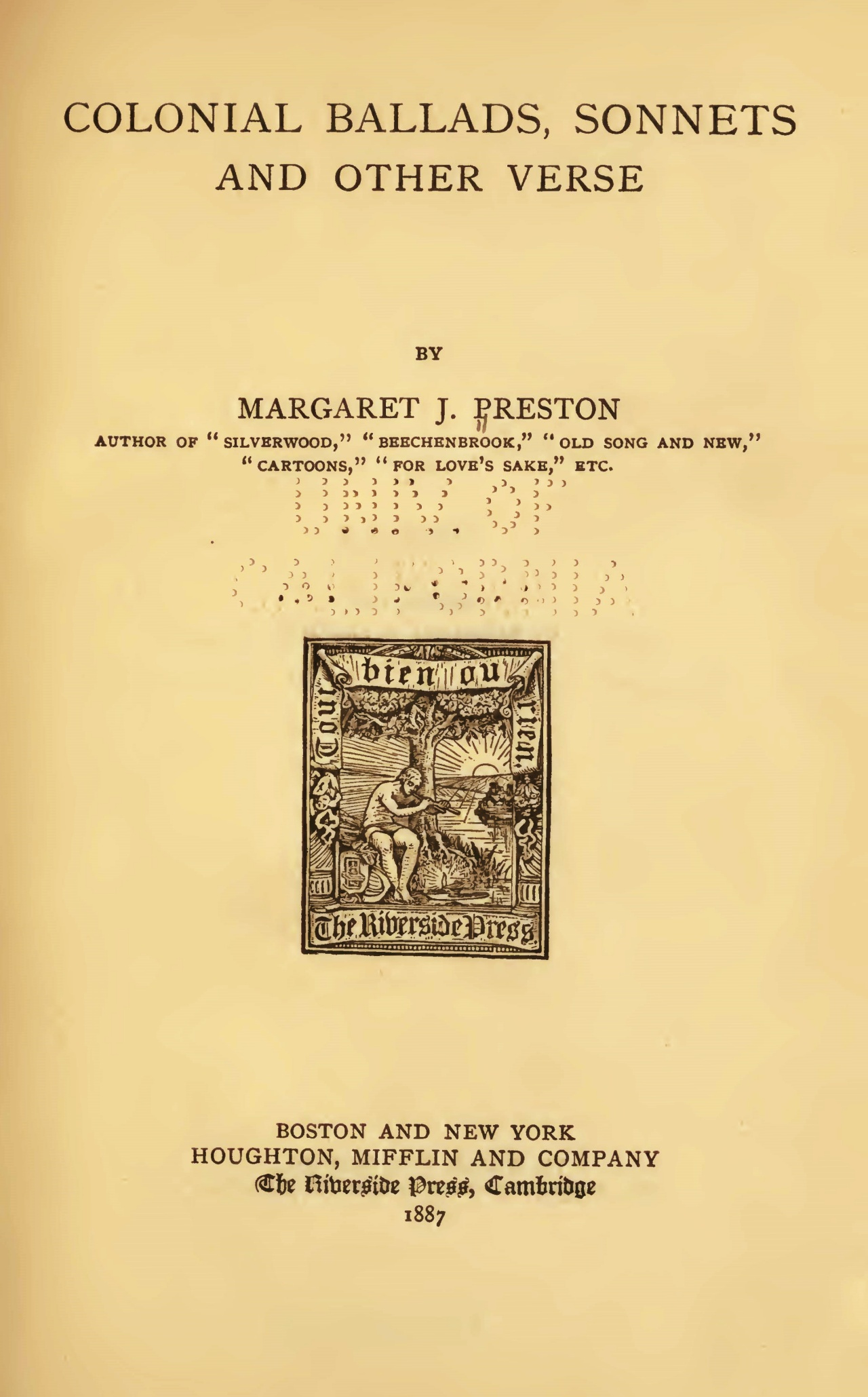 Preston, Margaret Junkin, Colonial Ballads, Sonnets and Other Verse Title Page.jpg