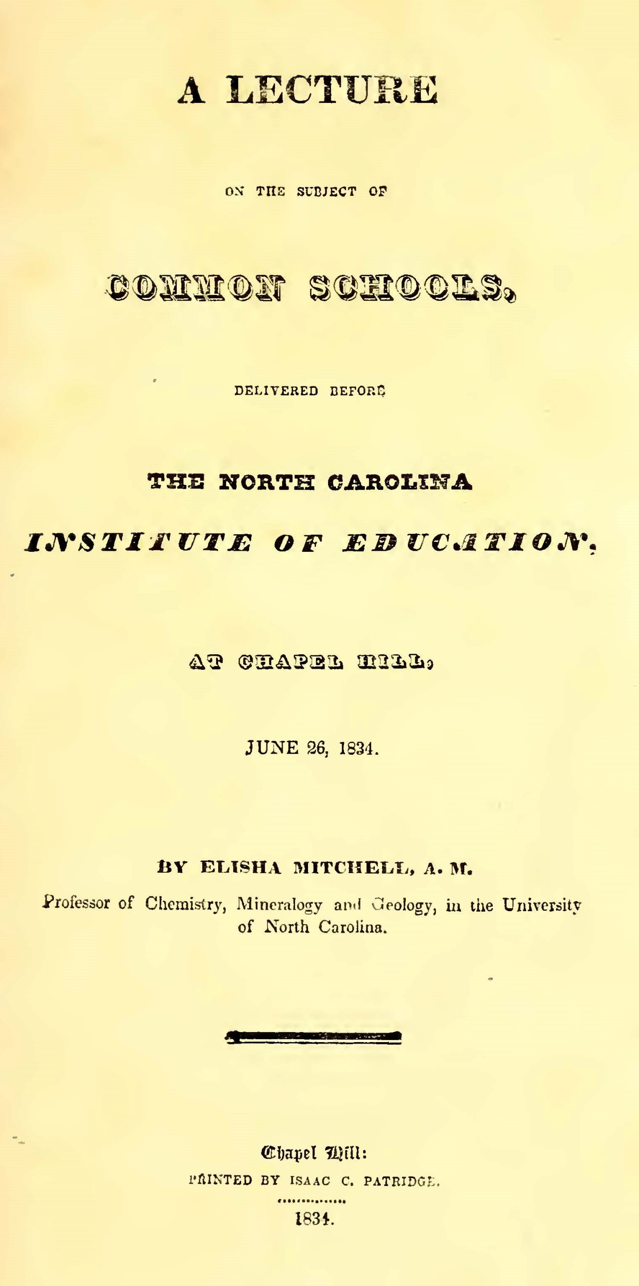 Mitchell, Elisha, A Lecture on the Subject of Common Schools Title Page.jpg