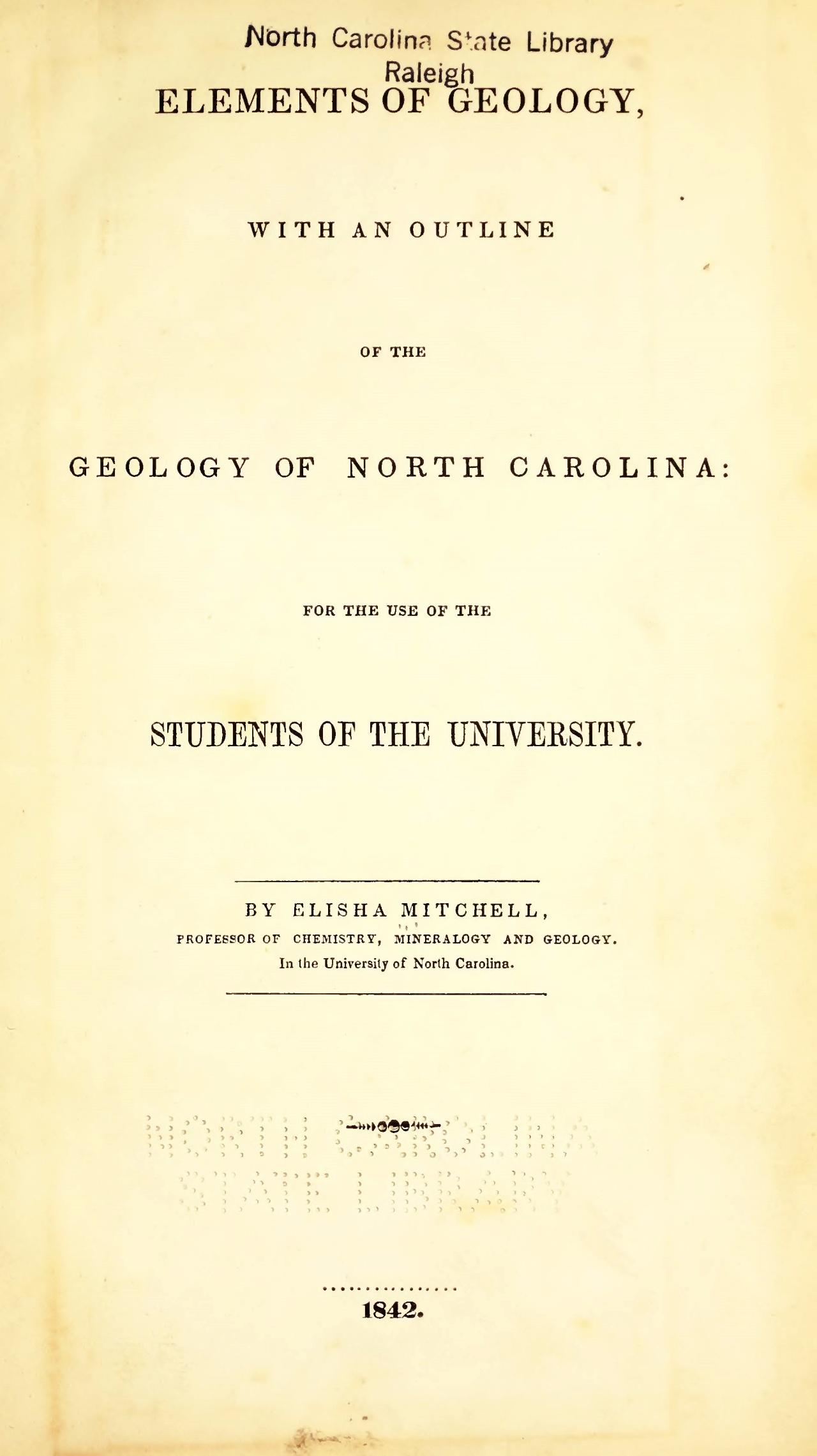 Mitchell, Elisha, Elements of Geology Title Page.jpg