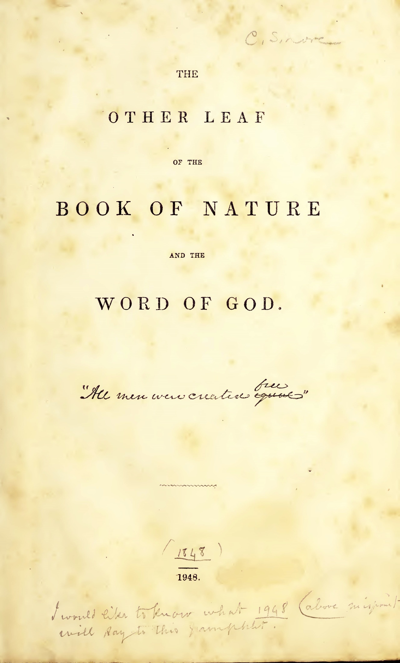 Mitchell, Elisha, The Other Leaf of the Book of Nature and the Word of God Title Page.jpg