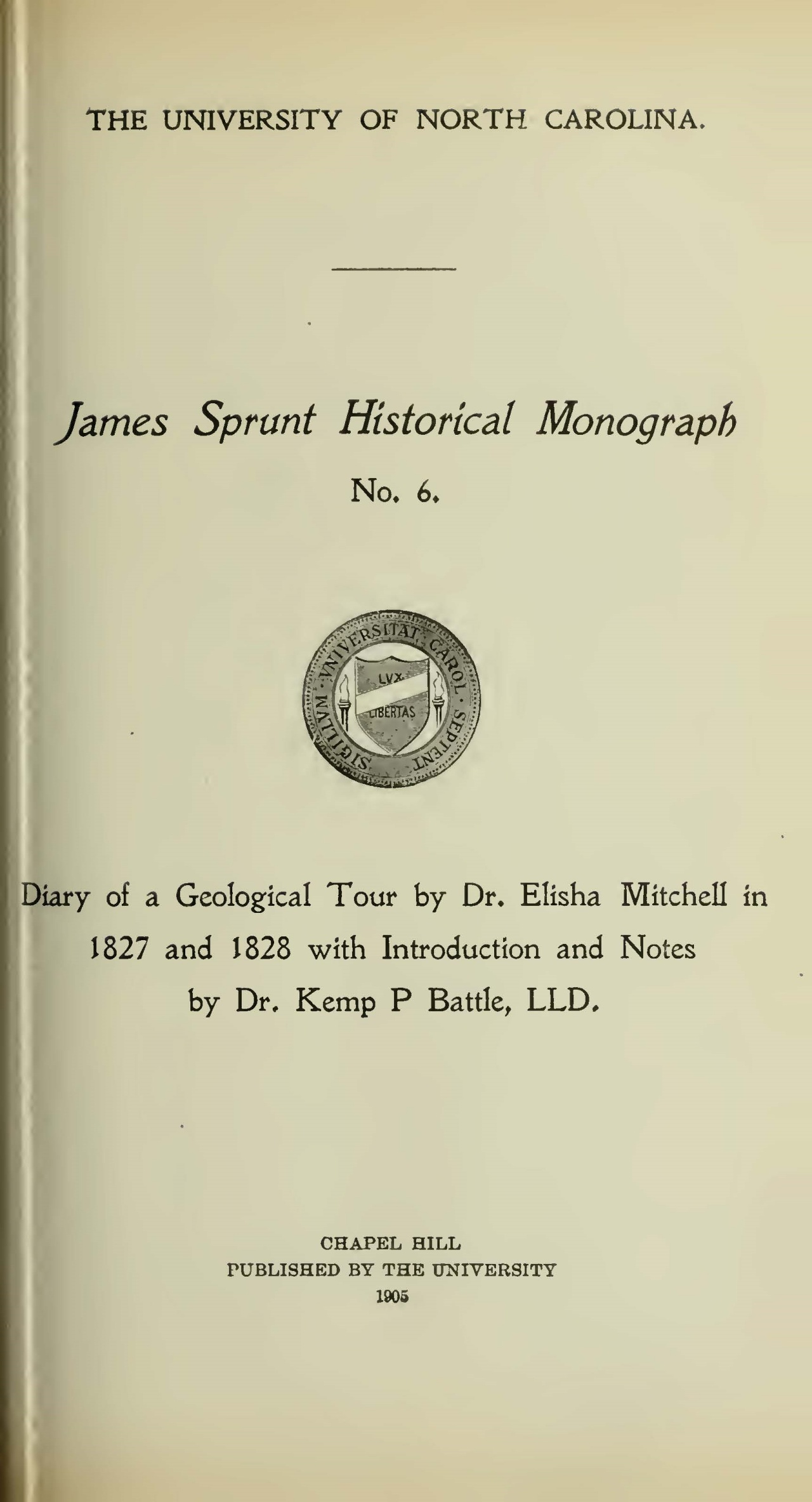 Mitchell, Elisha, Diary of 1827-1827 Geological Tour Title Page.jpg