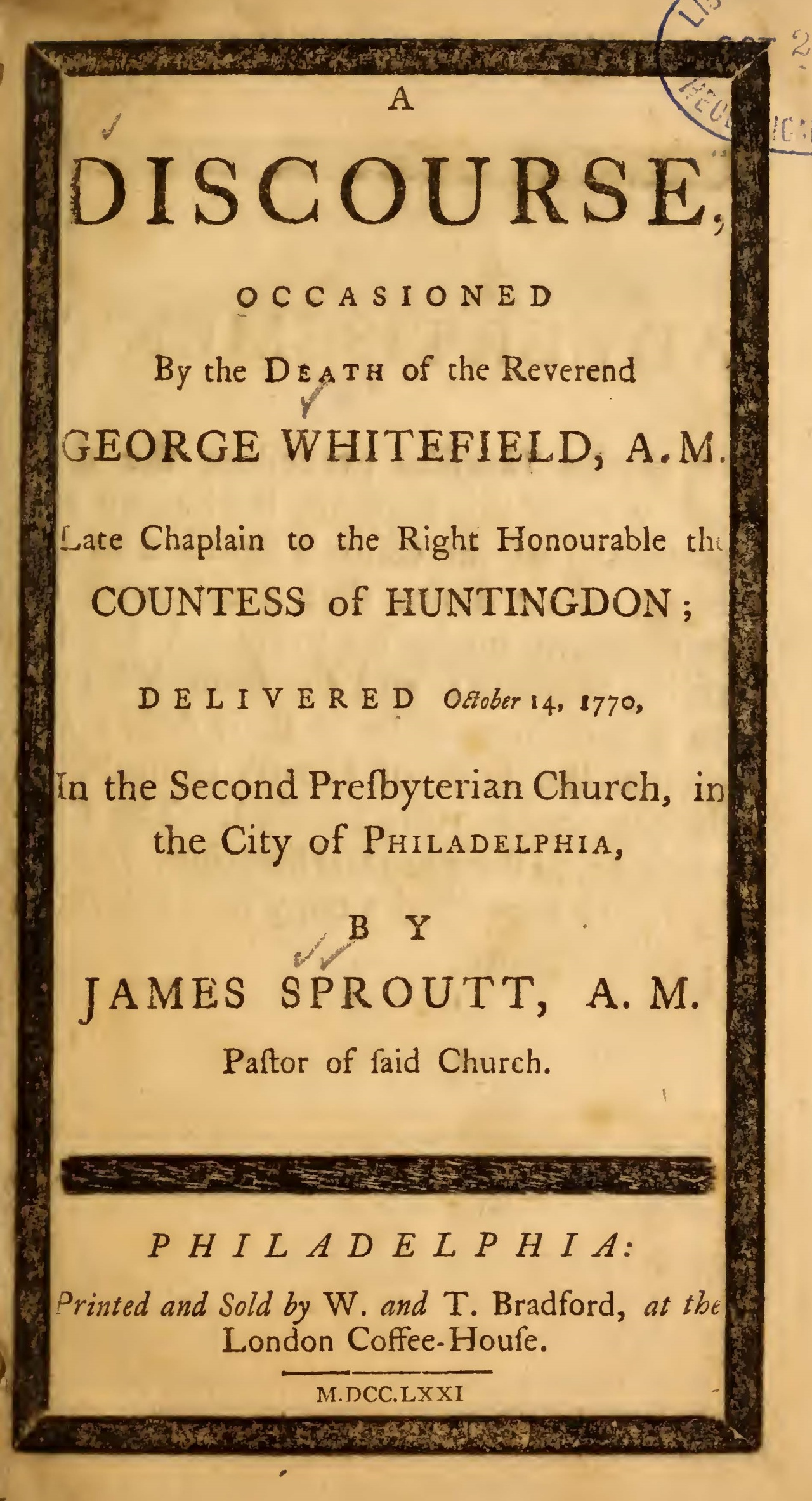 Sproat, James, A Discourse Occasioned by the Death of the Reverend George Whitefield Title Page.jpg
