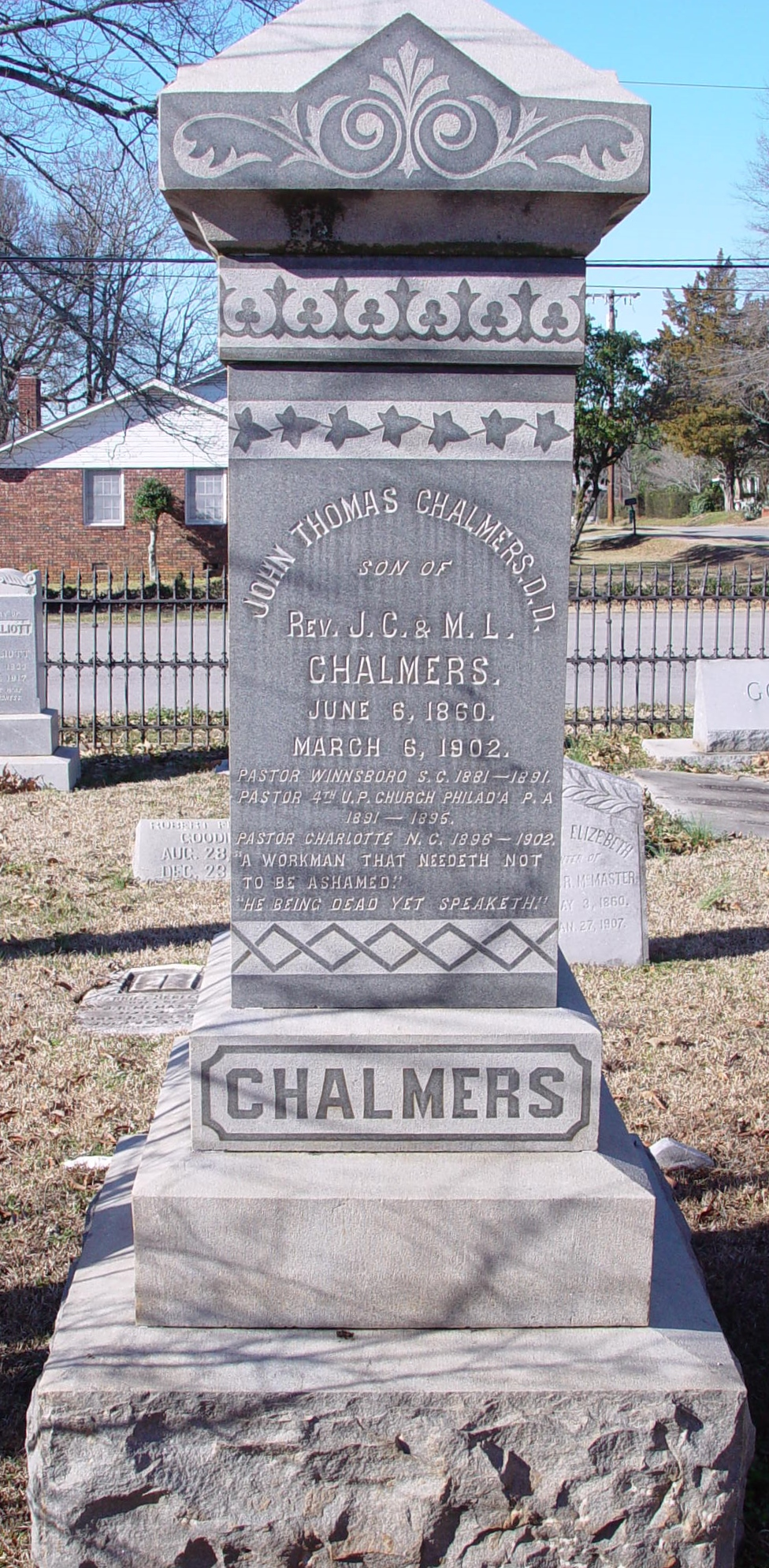 John Thomas Chalmers is buried at Bethel ARP Church Cemetery, Winnsboro, South Carolina.