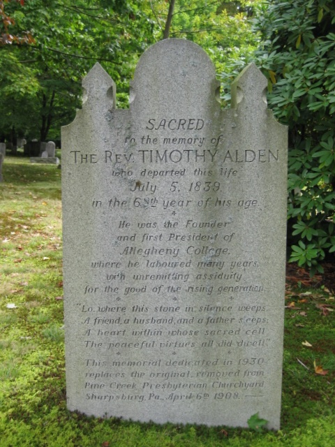 Timothy Alden, Jr. is buried at Greendale Cemetery, Meadville, Pennsylvania.
