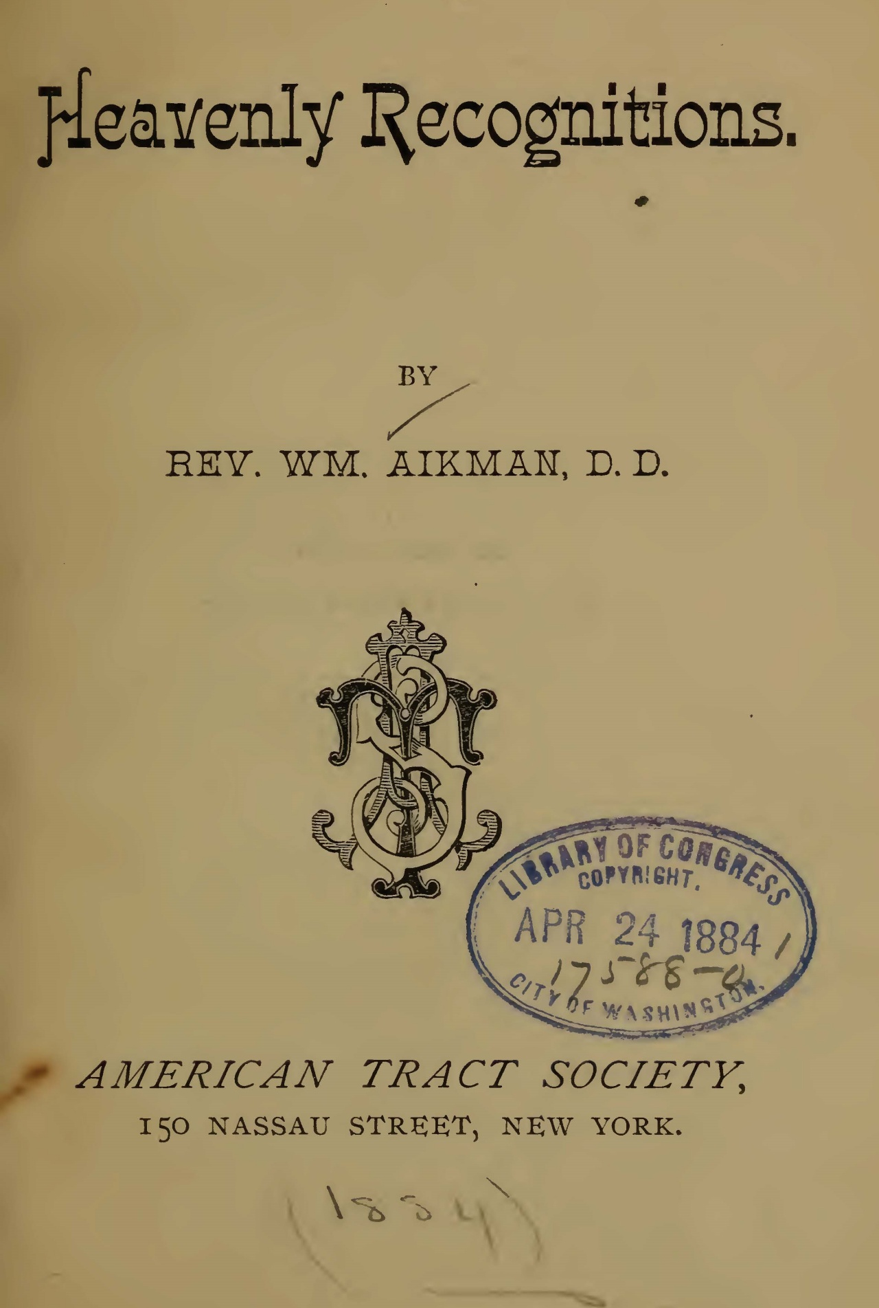 Aikman, William, Heavenly Recognitions Title Page.jpg