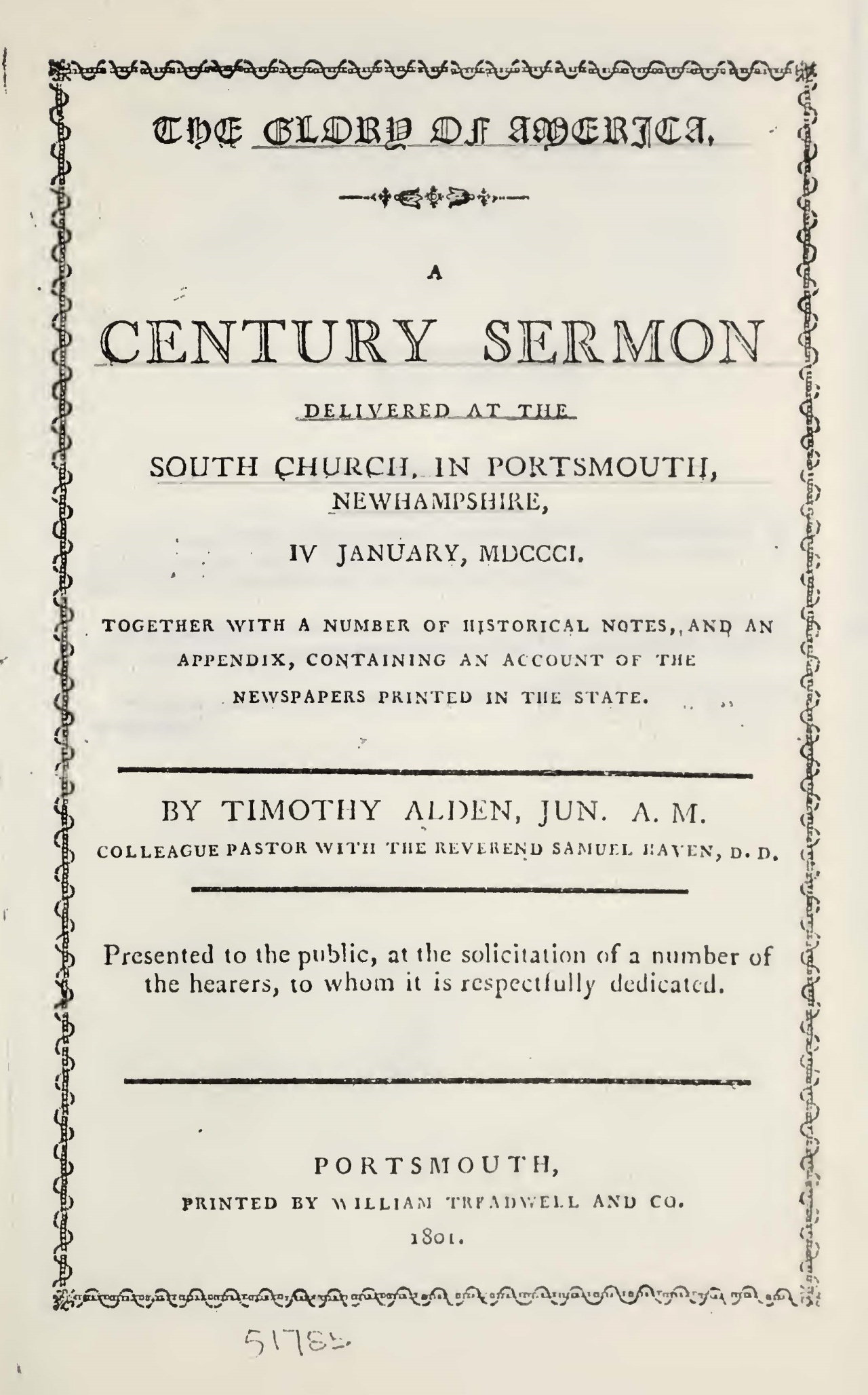 Alden, Jr., Timothy, The Glory of America Title Page.jpg