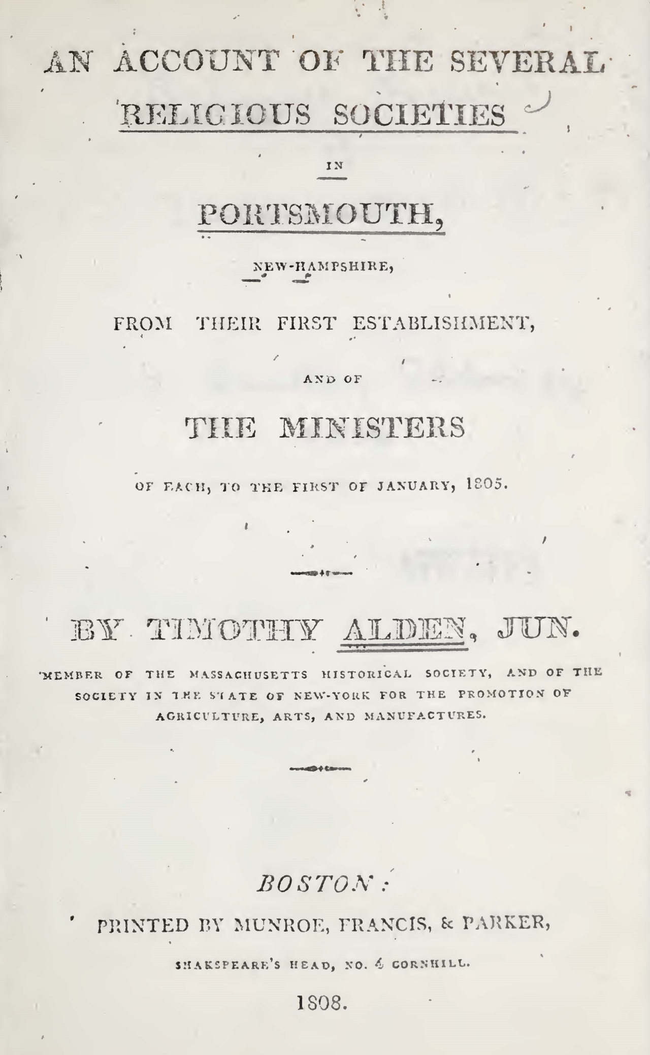 Alden, Jr., Timothy, An Account of the Several Religious Society in Portsmouth, NH Title Page.jpg
