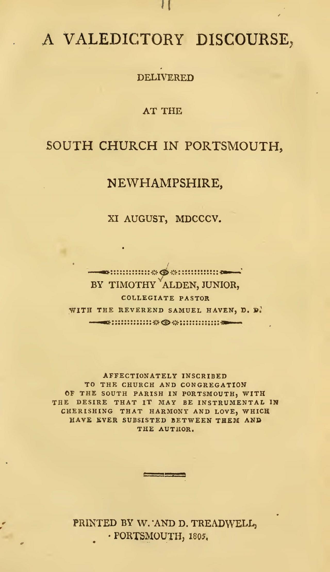 Alden, Jr., Timothy, A Valedictory Discourse Title Page.jpg