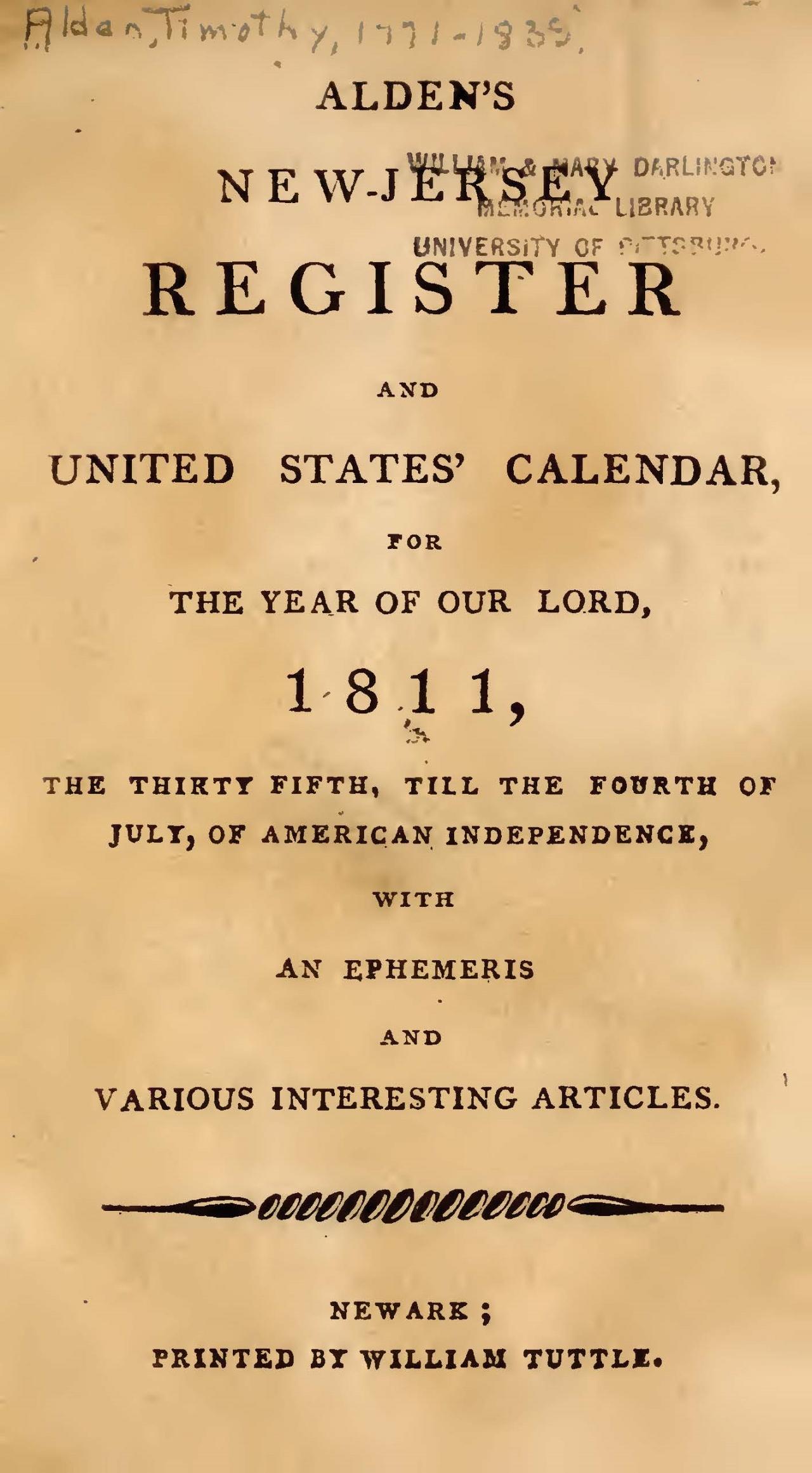 Alden, Jr., Timothy, Alden's 1811 New-Jersey Register and US Calendar Title Page.jpg
