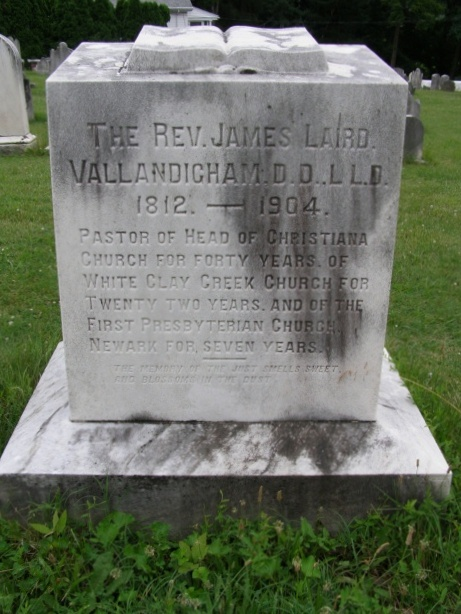 James Laird Vallandigham is buried at Head of Christiana Presbyterian Church Cemetery, Newark, Delaware.
