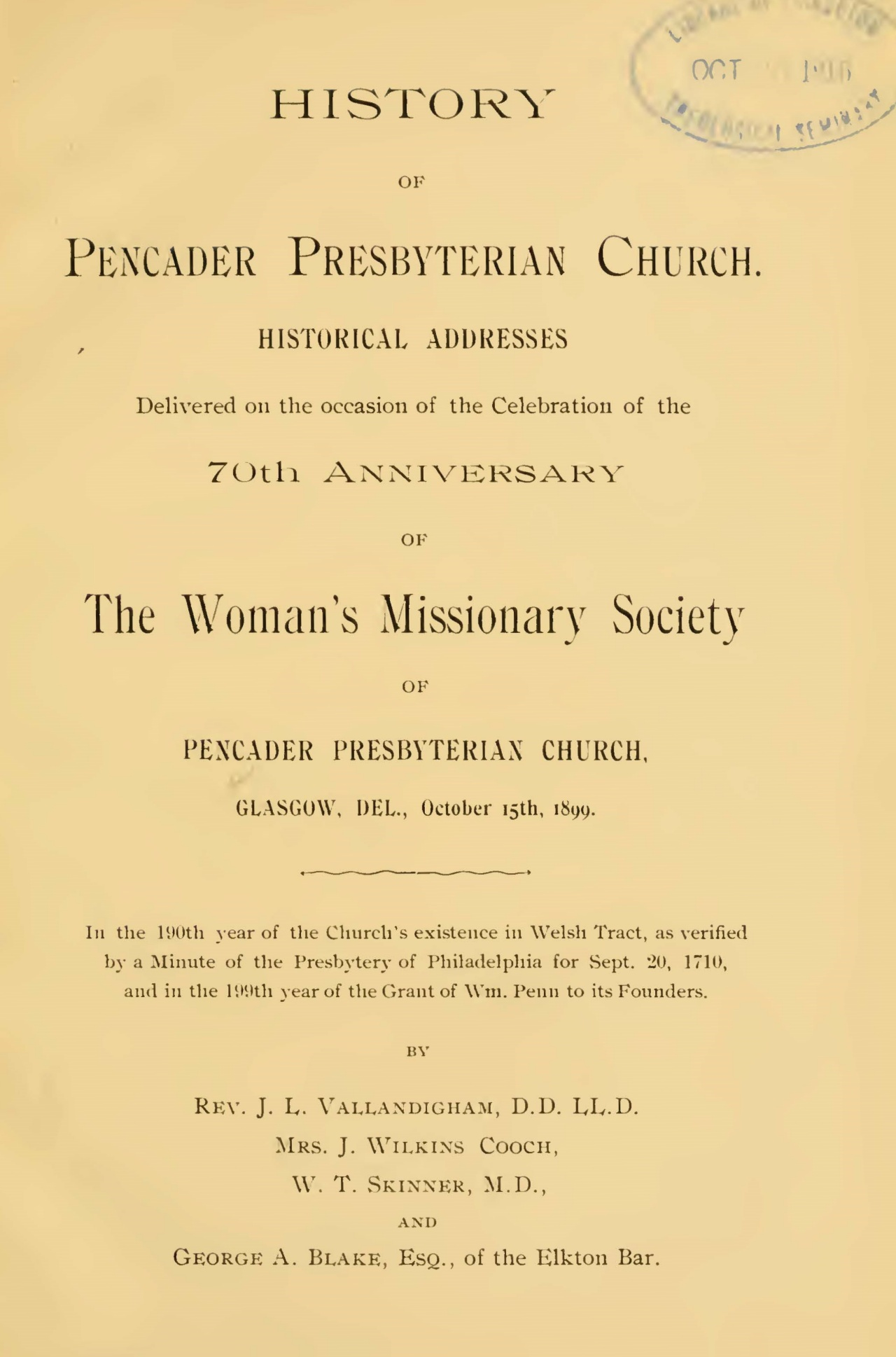 Vallandigham, James Laird, History of Pencader Presbyterian Church Title Page.jpg