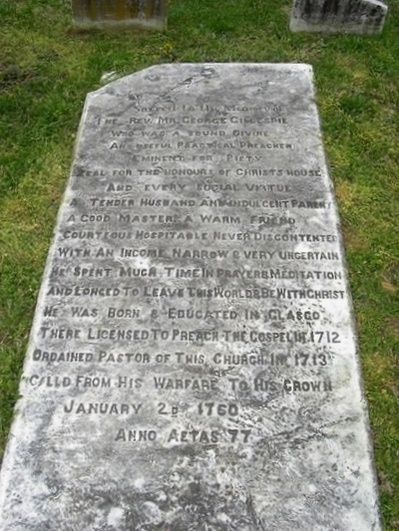 George Gillespie is buried at the Head of Christiana Presbyterian Church Cemetery, Newark, Delaware.