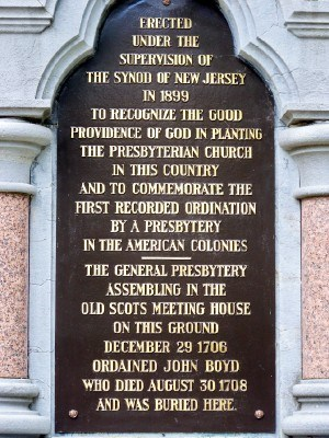 John Boyd is buried at the Old Scots Burying Ground, Marlboro, New Jersey, where a monument marks the spot and commemorates the first ordination by Presbytery in America.