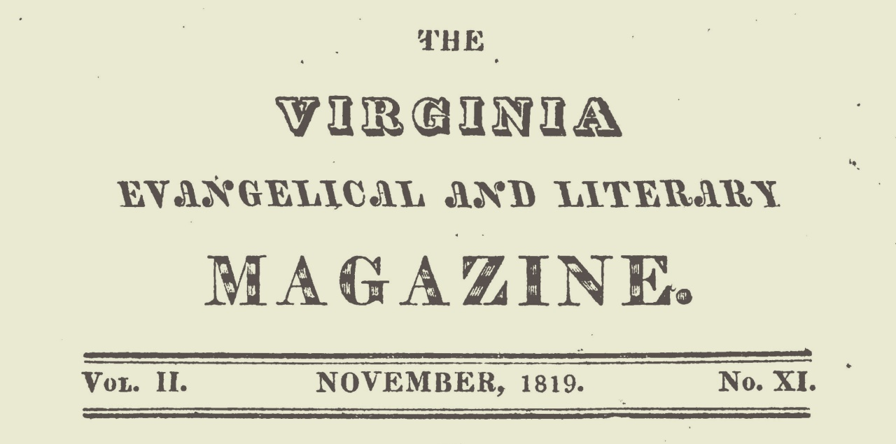 Rice, John Holt, Virginia Evangelical and Literary Magazine November 1819 Title Page.jpg
