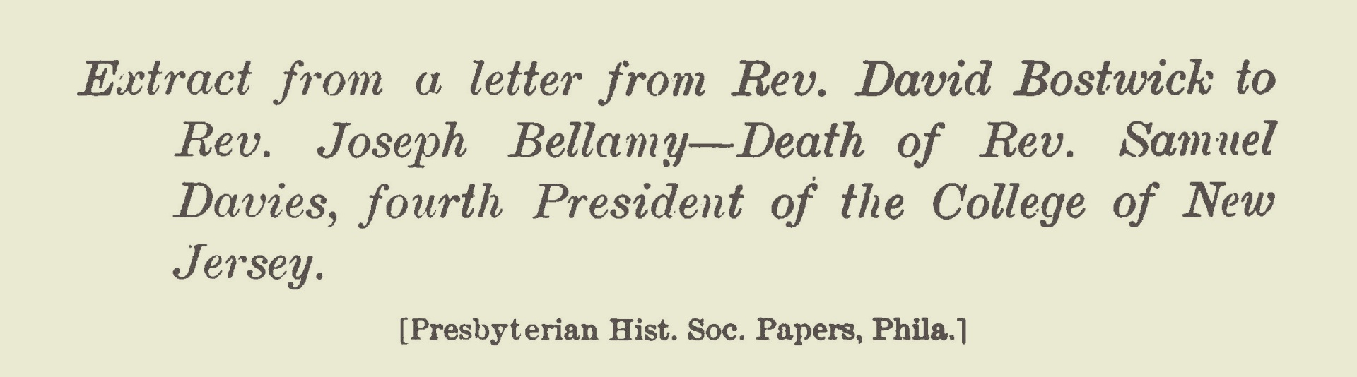 Bostwick, David, Extract of 1761 Letter to Joseph Bellamy Title Page.jpg