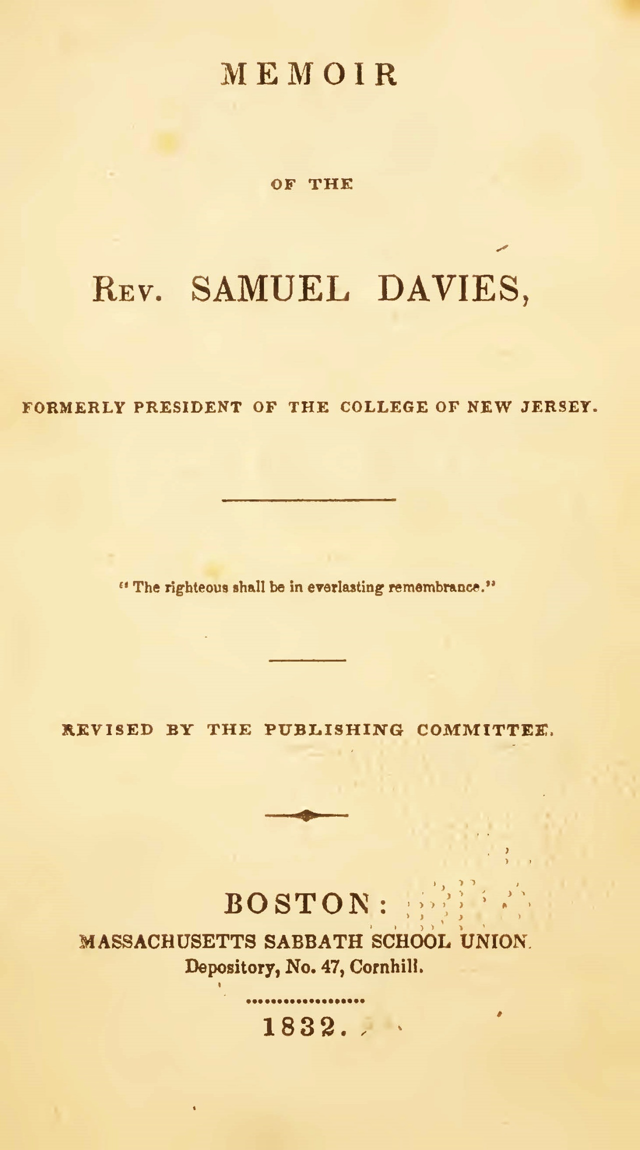 Rice, John Holt, Memoir of the Rev. Samuel Davies Title Page.jpg