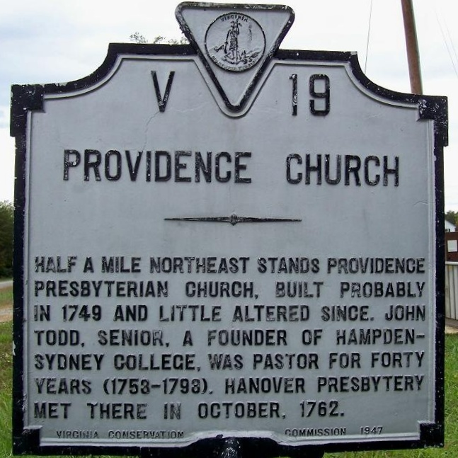 John Todd, Sr. was pastor of Providence Church in Louisa County, Virginia from 1753 to 1793.