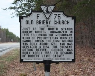 Robert Henry, Jr. founded the Old Briery Presbyterian Church in Charlotte County, Virginia in 1755.