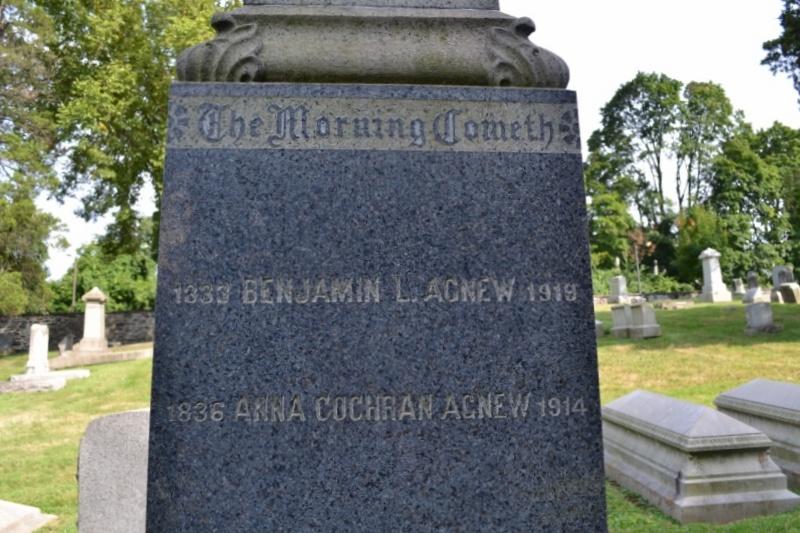 Benjamin Lashells Agnew is buried at Laurel Hill Cemetery, Philadelphia, Pennsylvania.