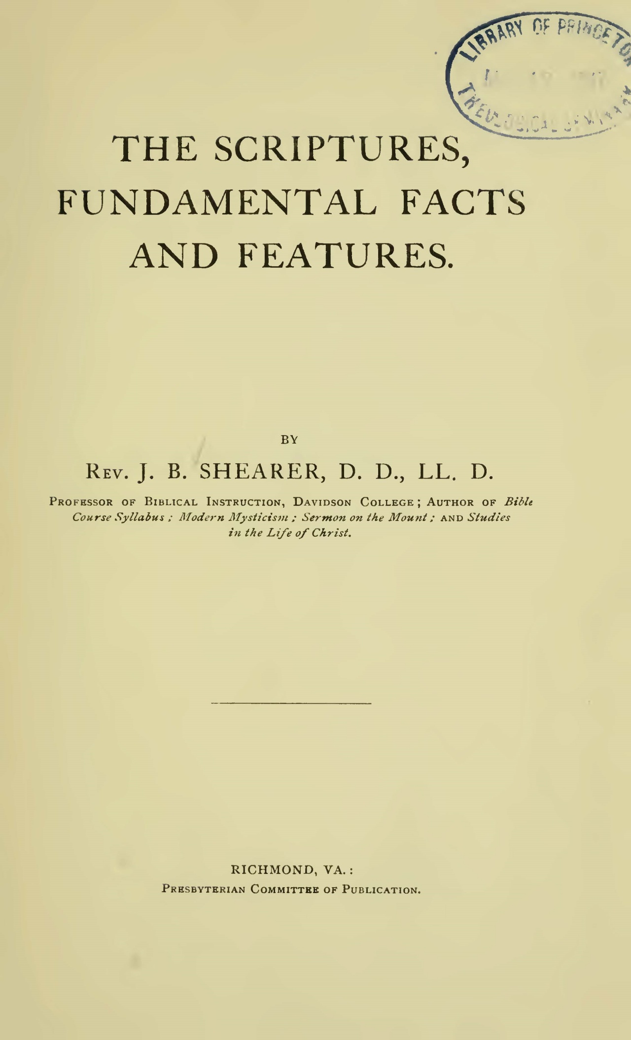 Shearer, John Bunyan, The Scriptures Fundamental Facts and Features Title Page.jpg