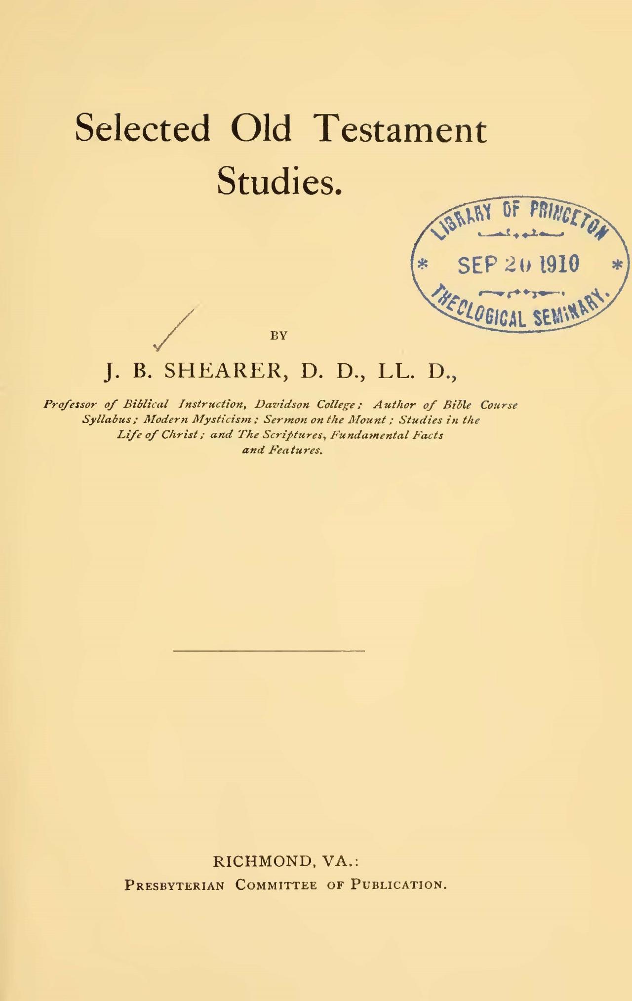 Shearer, John Bunyan, Selected Old Testament Studies Title Page.jpg