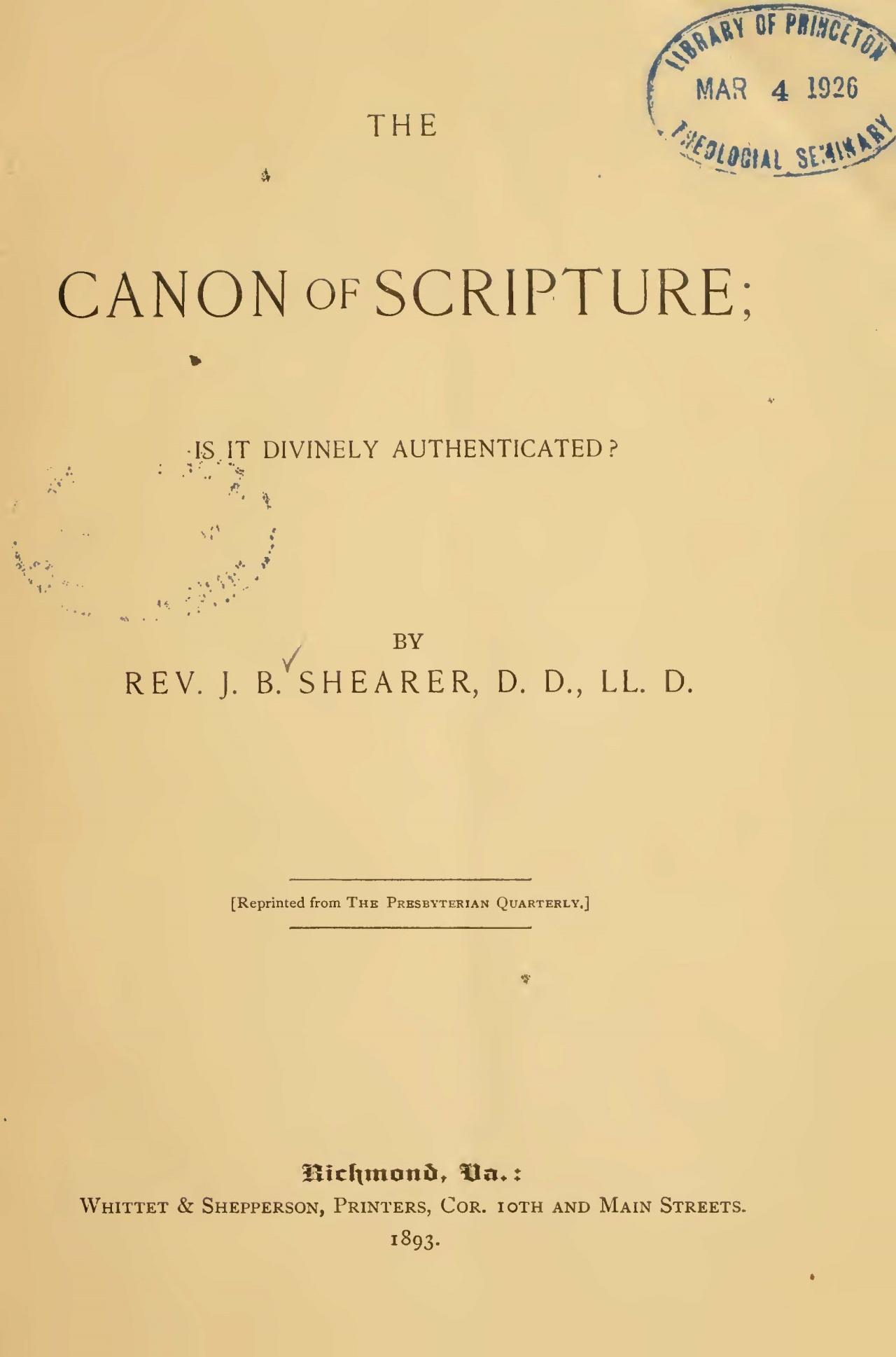 Shearer, John Bunyan, The Canon of Scripture Title Page.jpg