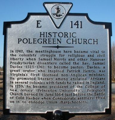 Davies, Samuel Polegreen Church Historical Marker.jpg