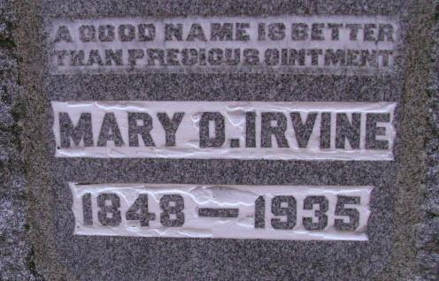 Mary Davis Irvine is buried at Bellevue Cemetery, Danville, Kentucky.