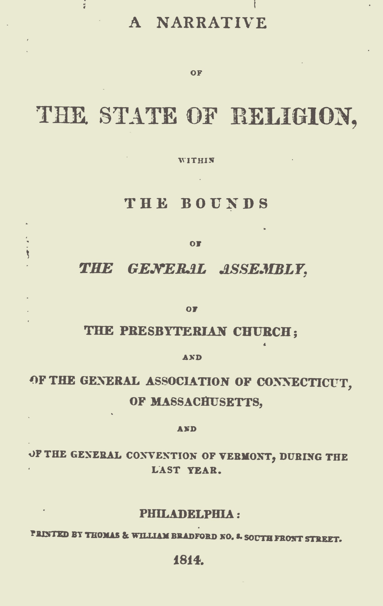 Janeway, Jacob Jones, A Narrative of the State of Religion 1814 Title Page.jpg