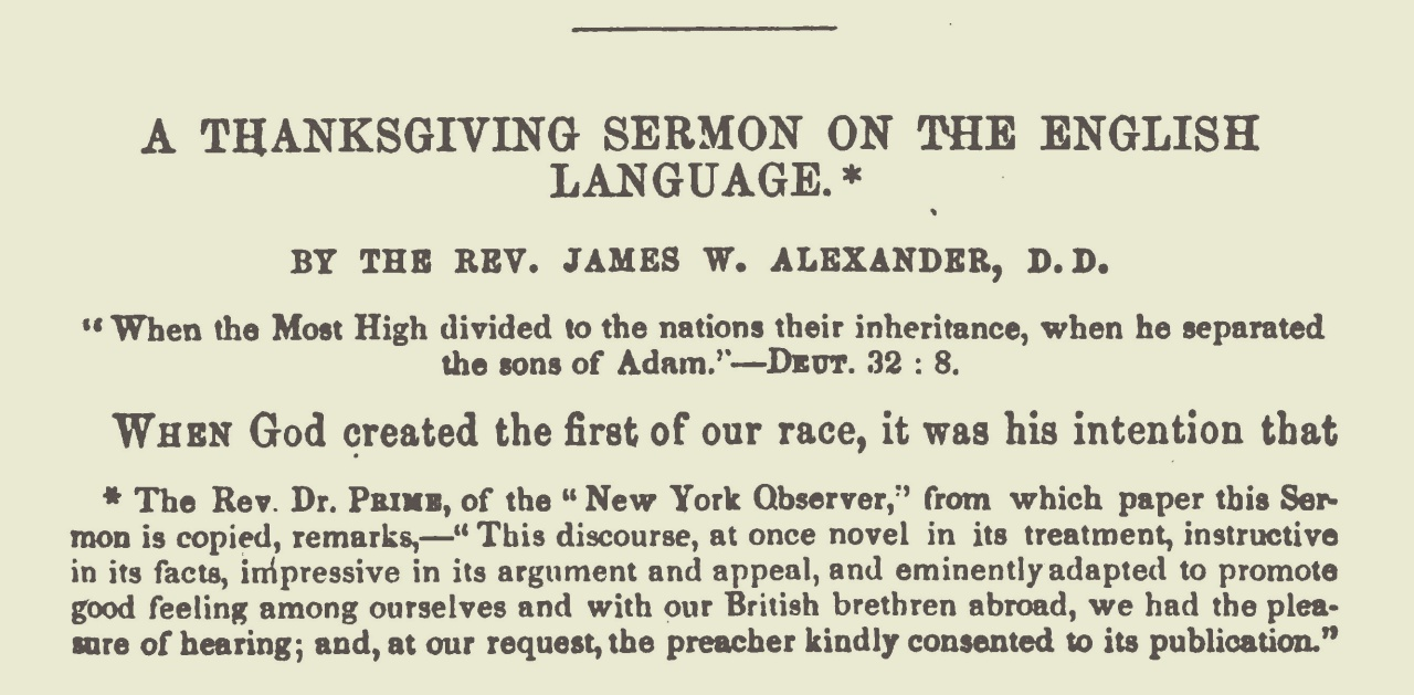 Alexander, James Waddel, A Thanksgiving Sermon on the English Language Title Page.jpg