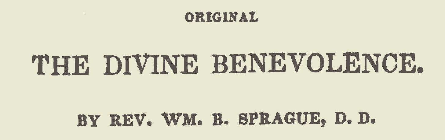 Sprague, William Buell, The Divine Benevolence Title Page.jpg