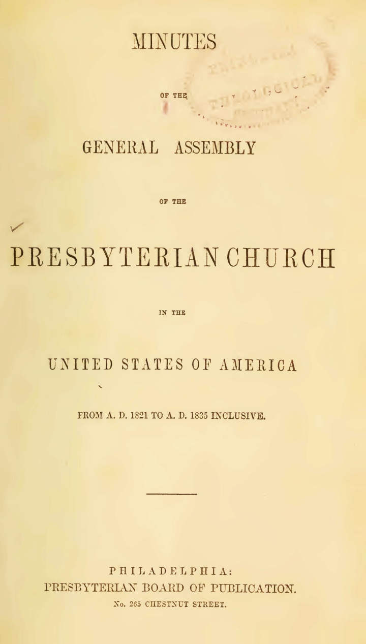 Minutes of the General Assembly PCUSA, 1821-1835 Title Page.jpg