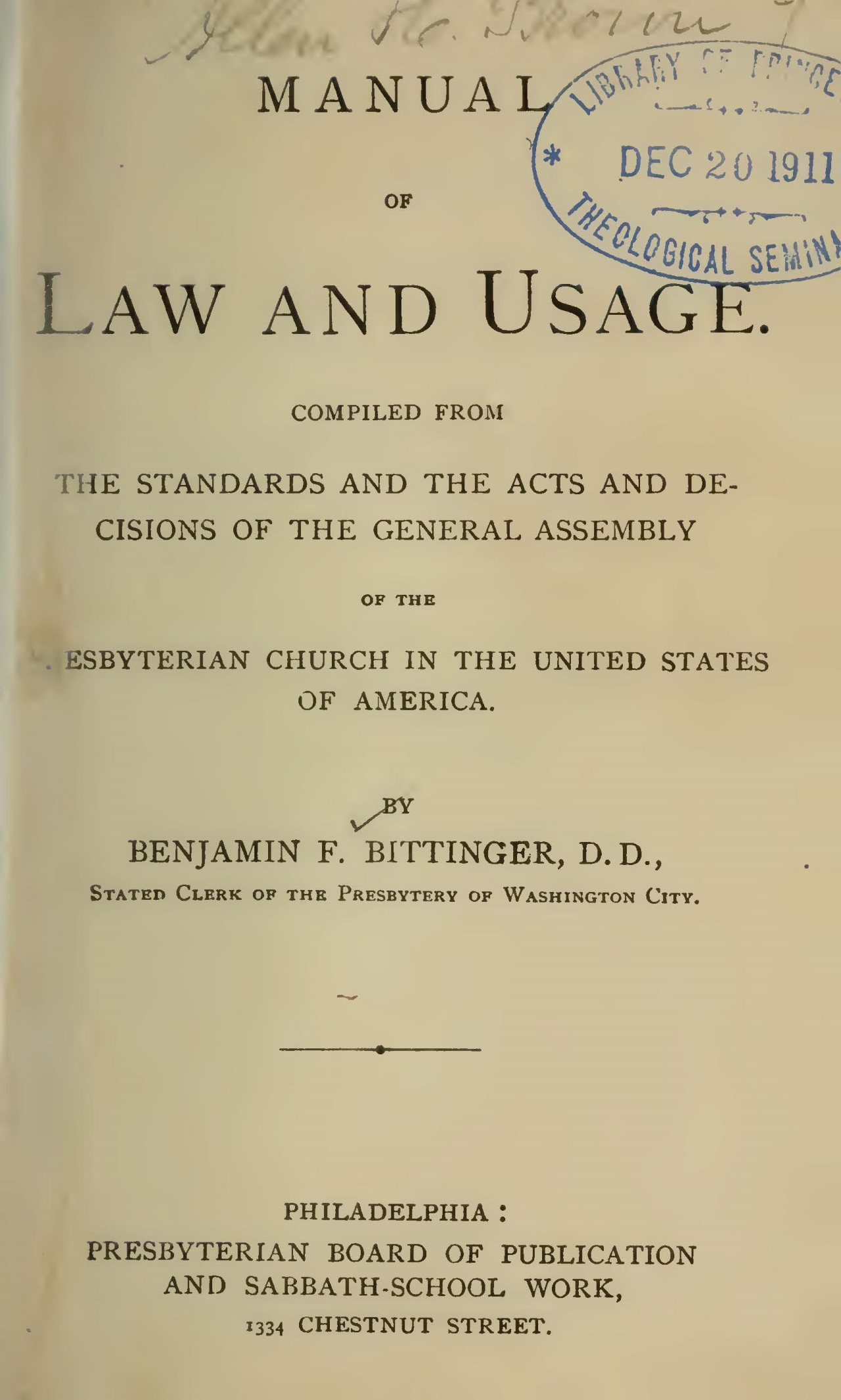 Bittinger, Benjamin Franklin, Manual of Law and Usage 1888 ed. Title Page.jpg