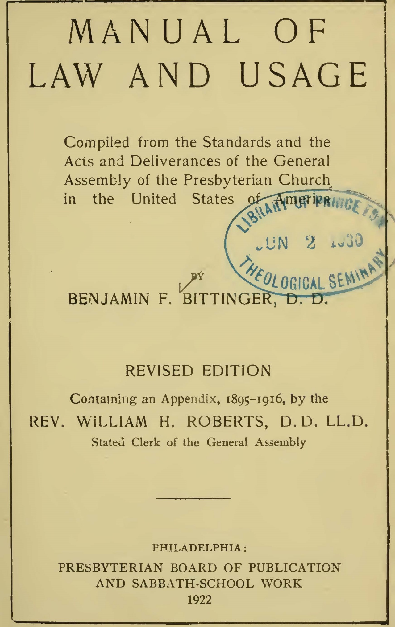 Bittinger, Benjamin Franklin, Manual of Law and Usage 1922 ed. Title Page.jpg