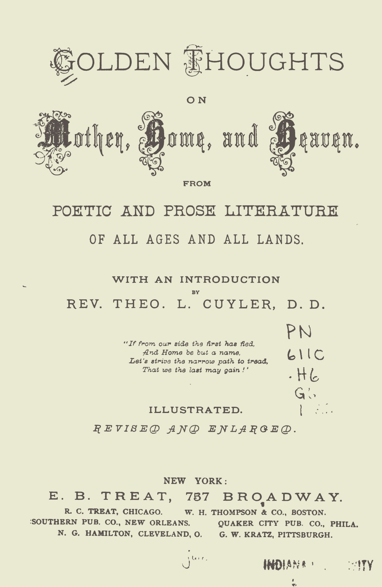 Cuyler, Theodore Ledyard, Golden Thoughts on Mother, Home and Heaven Title Page.jpg