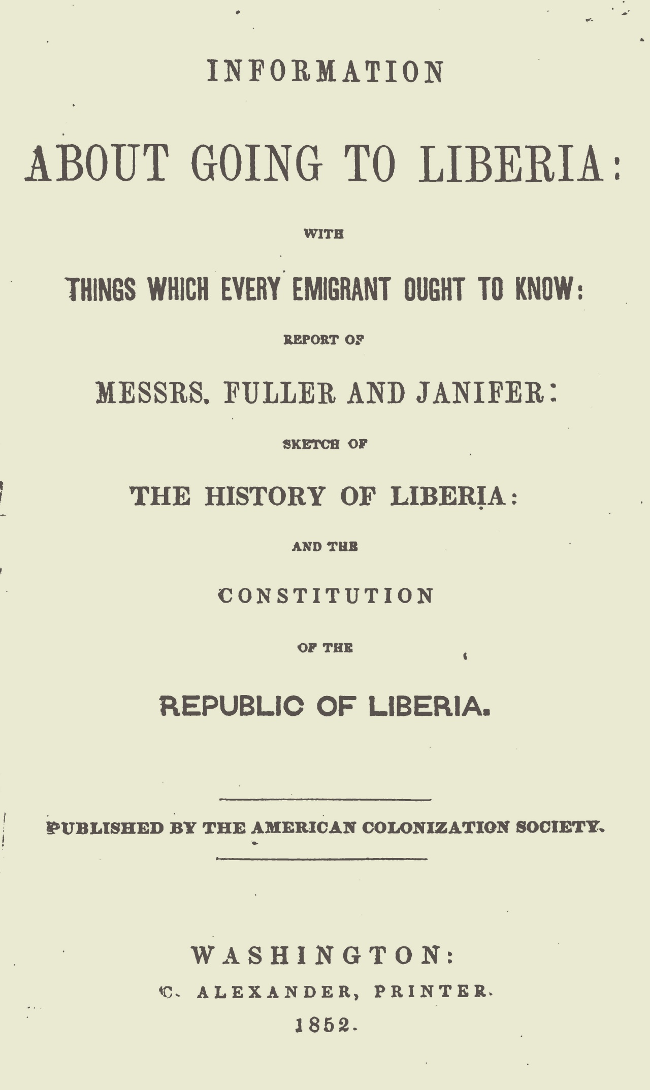 Herring, Amos, Information About Going to Liberia Title Page.jpg