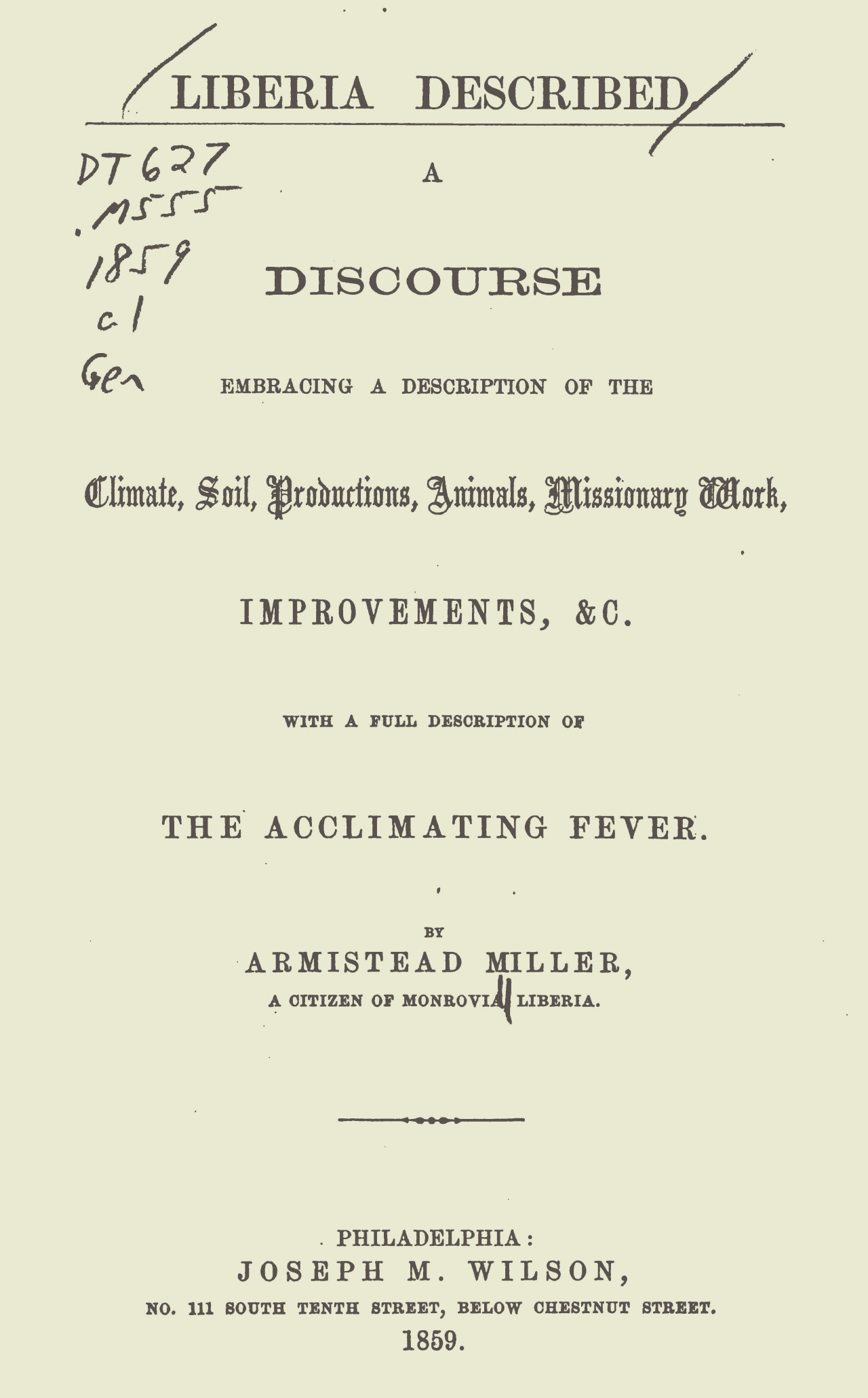 Miller, Armistead, Liberia Described A Discourse Title Page.jpg