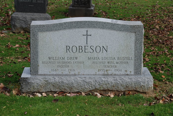 William Drew Robeson, I is buried at Princeton Cemetery, Princeton, New Jersey.