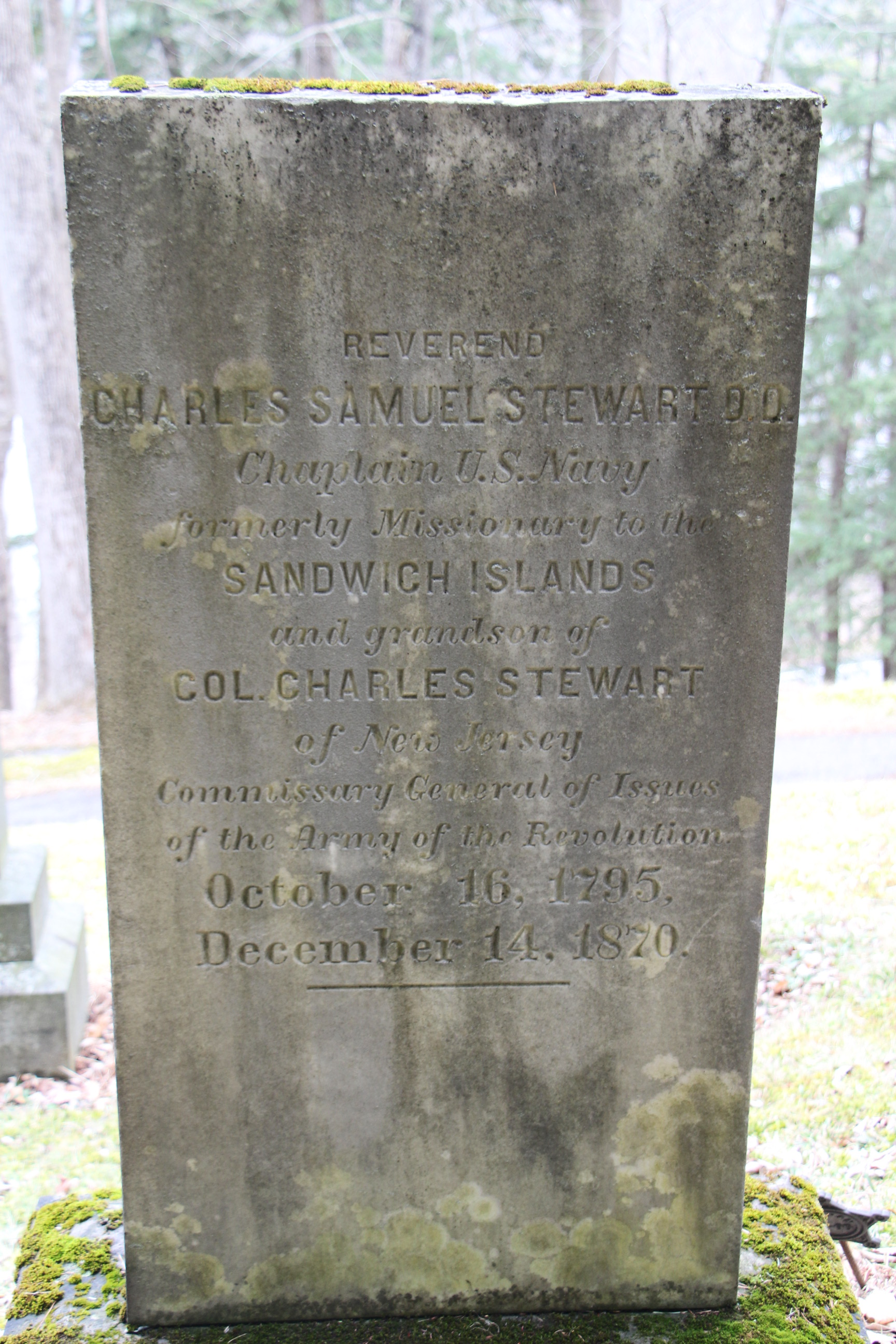 Charles Samuel Stewart is buried at Lakewood Cemetery, Cooperstown, New York.
