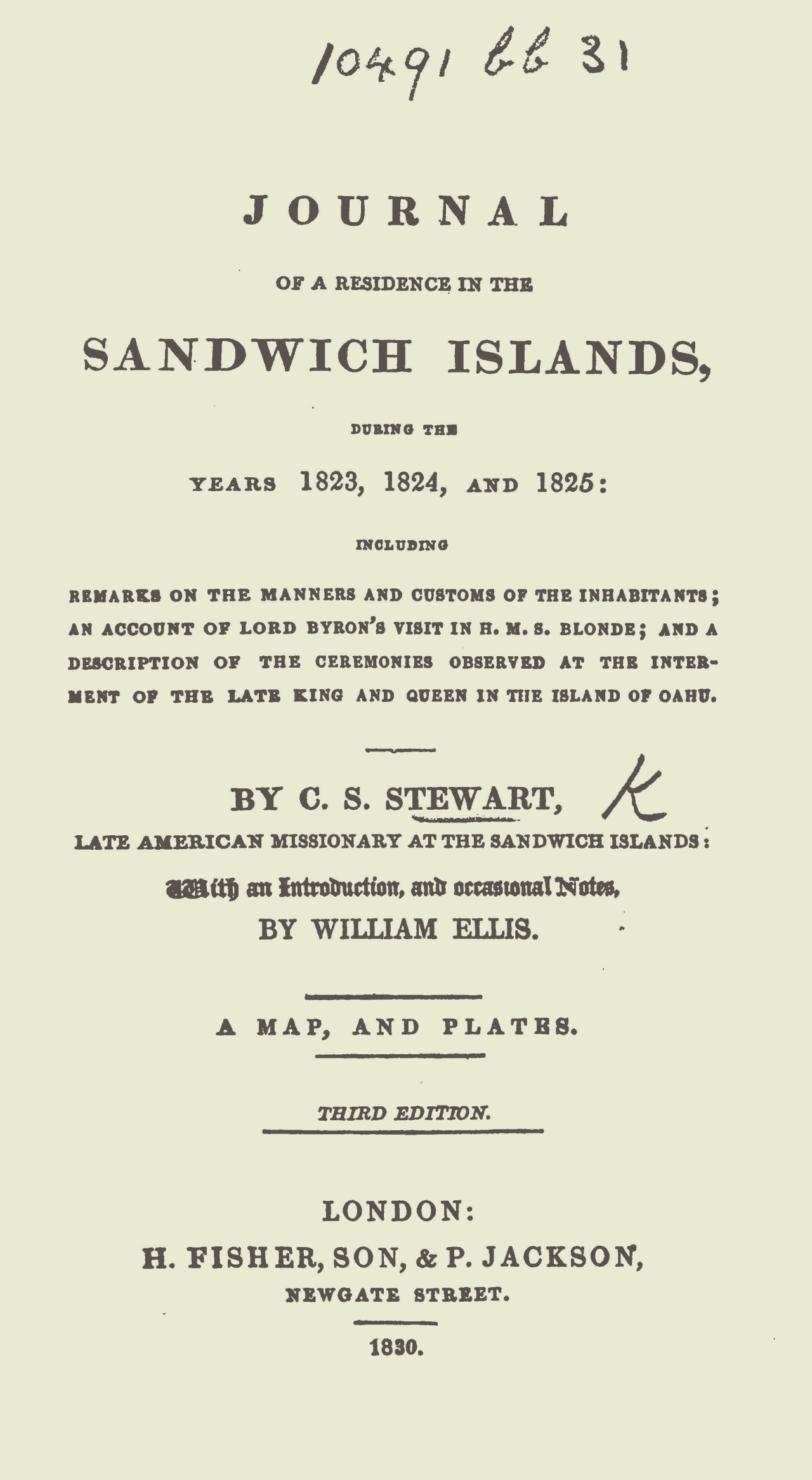 Stewart, Charles Samuel, Journal of a Residence in the Sandwich Islands Title Page.jpg