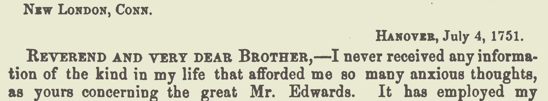 Davies, Samuel, July 4, 1751 Letter to Joseph Bellamy Title Page.jpg