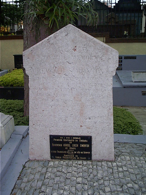 Ashbel Green Simonton is buried at Protestant Cemetery, São Paulo, Brazil.