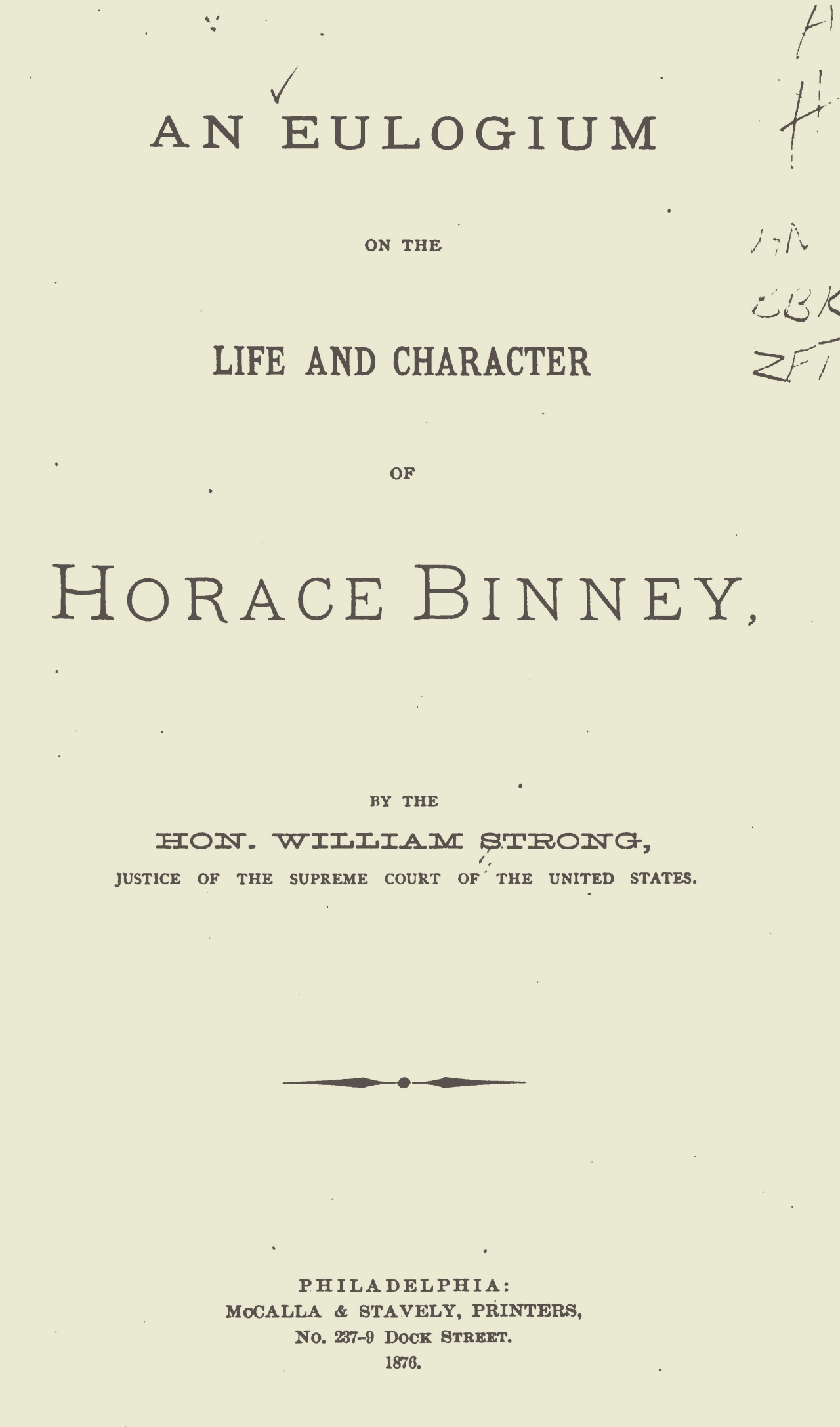 Strong, William, An Eulogium on the Life and Character of Horace Binney Title Page.jpg