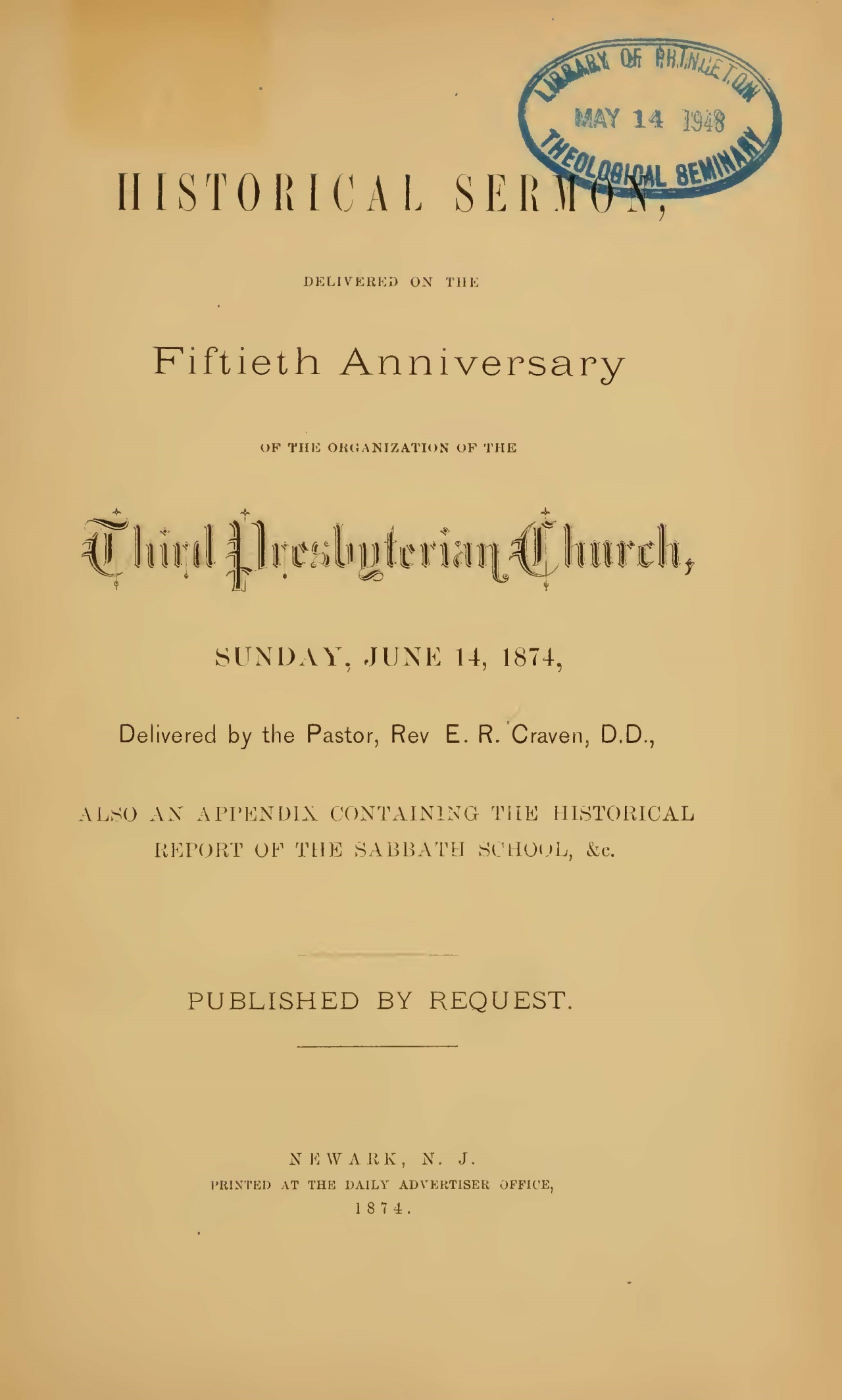 Craven, Elijah Richardson, Historical Sermon Delivered on the Fiftieth Anniversary Title Page.jpg