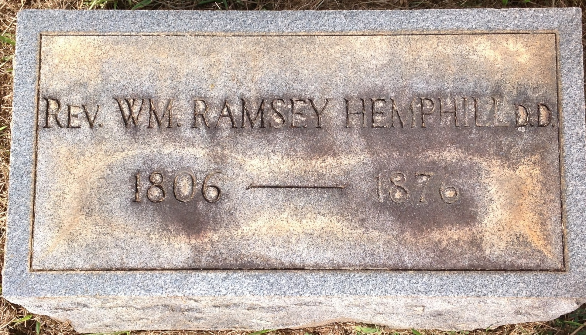 William Ramsey Hemphill is buried at Due West ARP Church Cemetery, Due West, South Carolina.