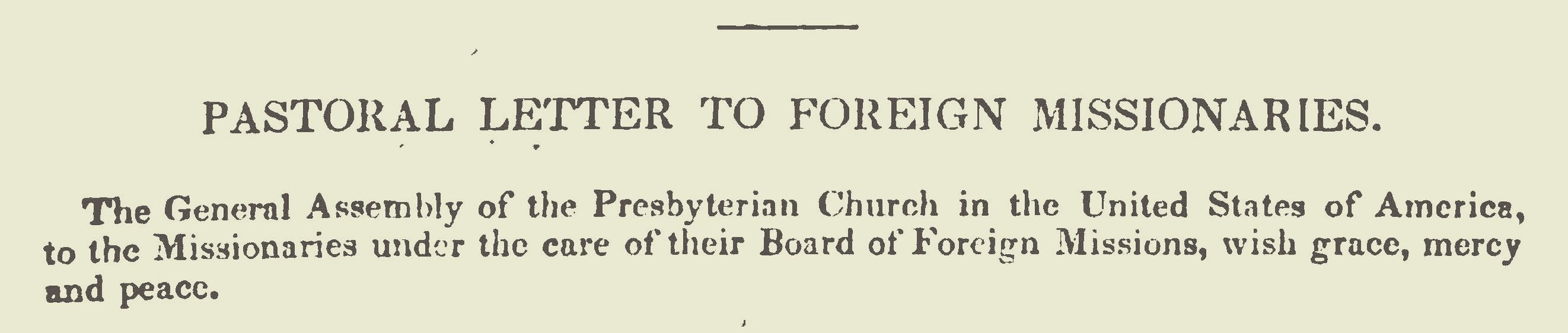 Plumer, William Swan, Pastoral Letter to Foreign Missionaries of the 1838 PCUSA General Assembly Title Page.jpg