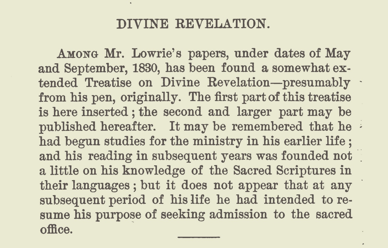 Lowrie, Walter, Treatise on Divine Revelation Title Page.jpg