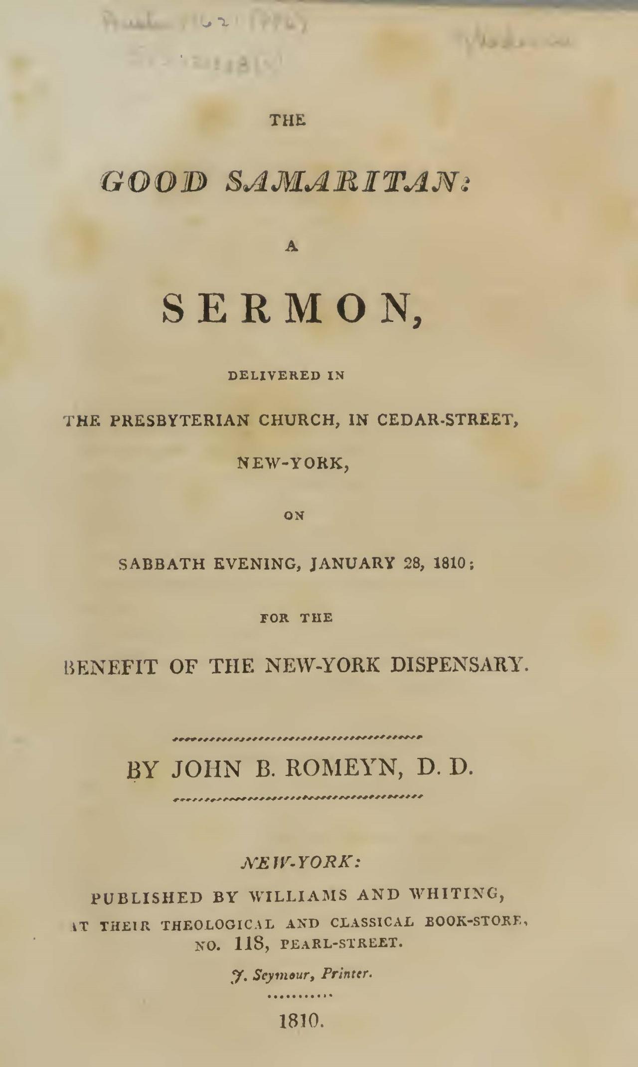 Romeyn, John Brodhead, The Good Samaritan A Sermon Title Page.jpg