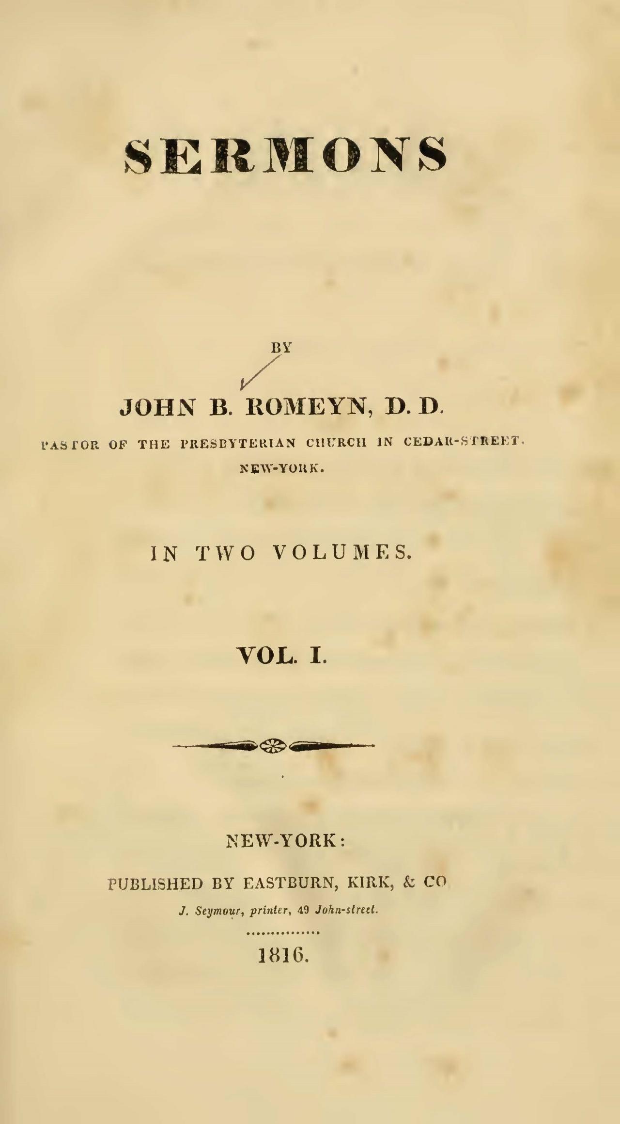 Romeyn, John Brodhead, Sermons, Vol. 1 Title Page.jpg