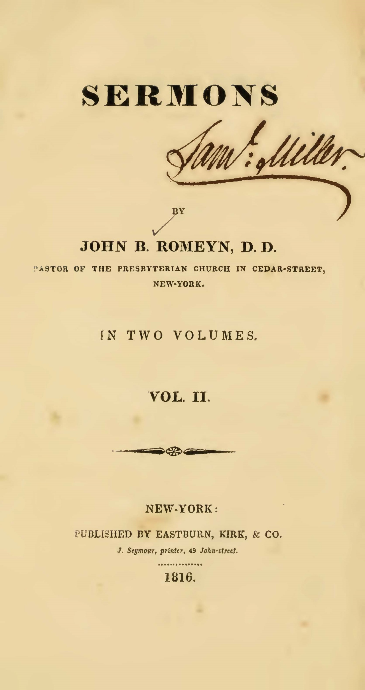 Romeyn, John Brodhead, Sermons, Vol. 2 Title Page.jpg
